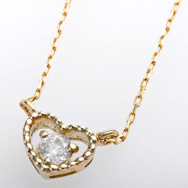 ダイヤモンド ネックレス K10イエローゴールド ダイヤ0.08ct アンティーク調 ハートモチーフ