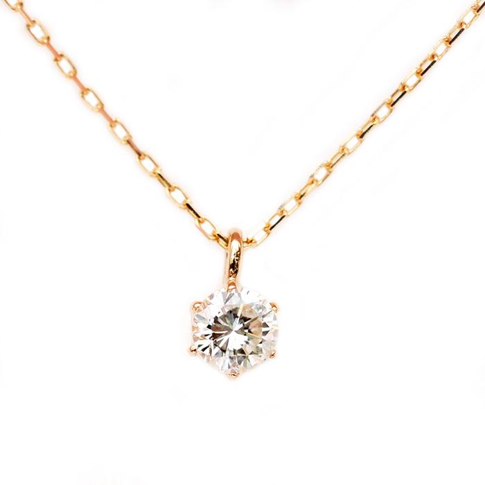 あす楽 ダイヤモンド ネックレス K18 ピンクゴールド 0.1ct 一粒 6本爪 シンプル ダイヤネックレス ペンダント