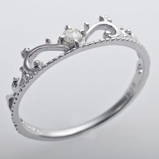 ダイヤモンド リング K10ホワイトゴールド ダイヤ0.05ct アンティーク調 プリンセス ティアラ 指輪 かわいい 大人女子 贈り物 プレゼント