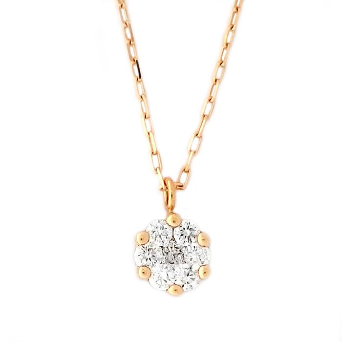 K18 ダイヤモンド ネックレス イエローゴールド 18金 0.14ct 7粒 ダイヤネックレス シンプル ペンダント ジュエリー