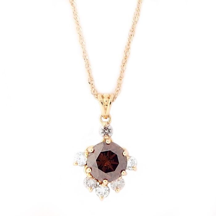ブラウンダイヤモンド ネックレス K18 ピンクゴールド 0.89ct ブラウンダイヤ&ダイヤ ペンダント
