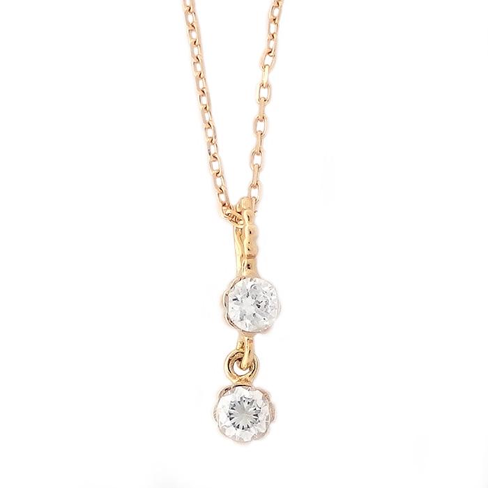 ダイヤモンド ネックレス K18 イエローゴールド 0.14ct 2粒 2連 2ストーン ダイヤネックレス シンプル ペンダント