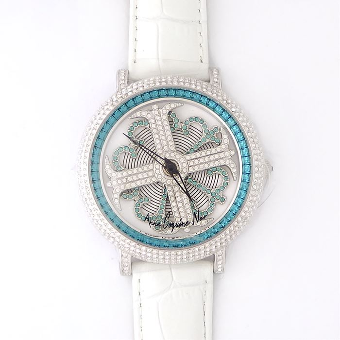 アンコキーヌ ネオ 45mm バイカラー ミニクロス シルバーベゼル インナーベゼルブルー ホワイトベルト イール 正規品(腕時計・グルグル時計)