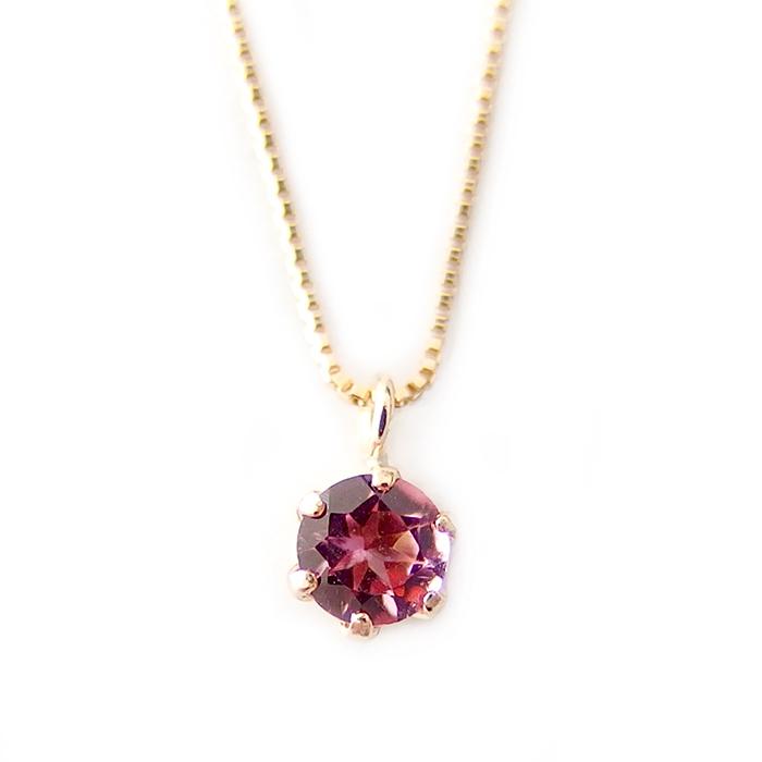 ネックレス ピンクトルマリン K18 イエローゴールド 10月 誕生石 一粒 シンプル プチネックレス ペンダント バースデー
