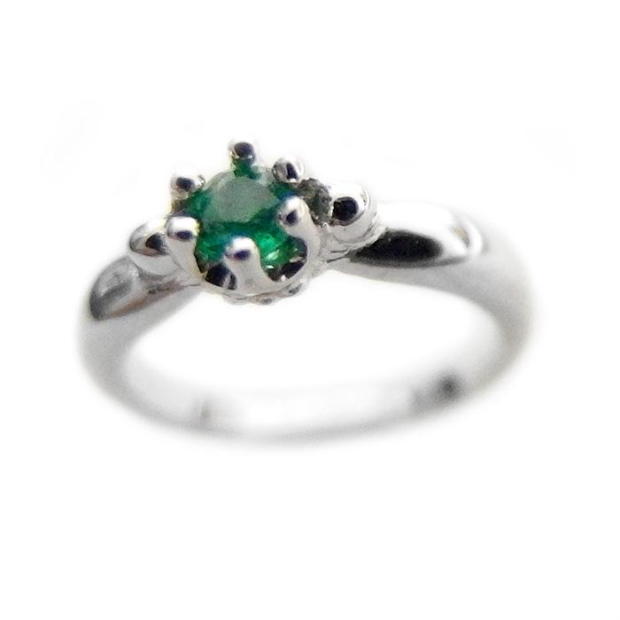 ベビーリング ネックレス エメラルド 5月 誕生石 K10 ホワイトゴールド Babyリング 指輪 シンプル ペンダント