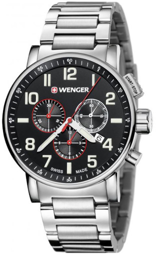 【ベルト調整無料】日本未発売 WENGER 010343105 ウェンガー クロノグラフ ブラック ウォッチ 時計 メンズ