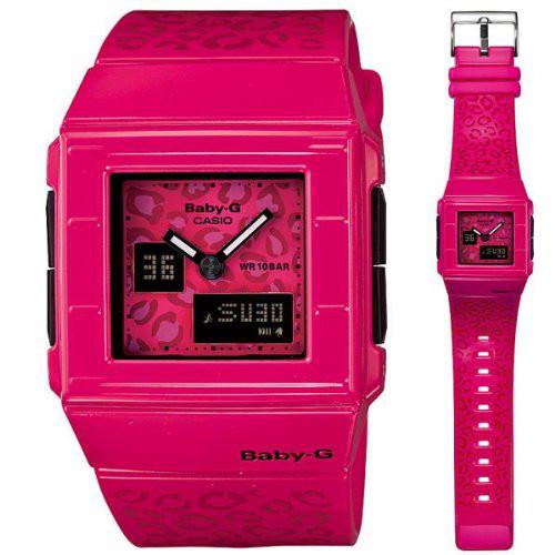 CASIO Baby-G BGA-200LP-4 逆輸入 カシオ ベビージー ケシャ レディース デジタル アナログ ウォッチ 腕時計 豹 レオパード 角 スクエア ピンク