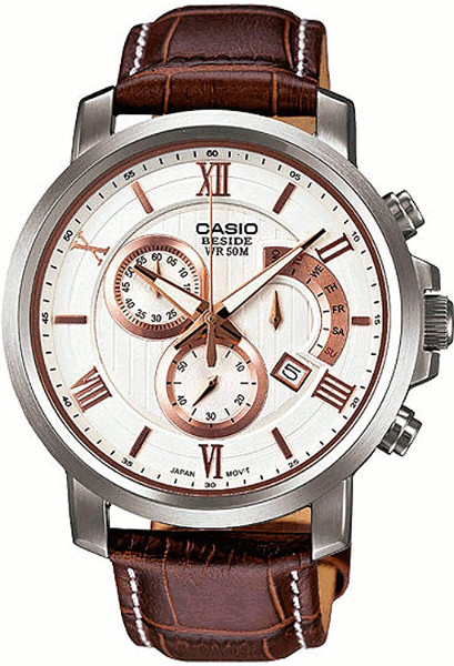 【即納可能】日本未発売 逆輸入 CASIO BEM-507L-7AV カシオ クロノグラフ メンズ ウォッチ 腕時計 時計 レザーベルト【送料無料】