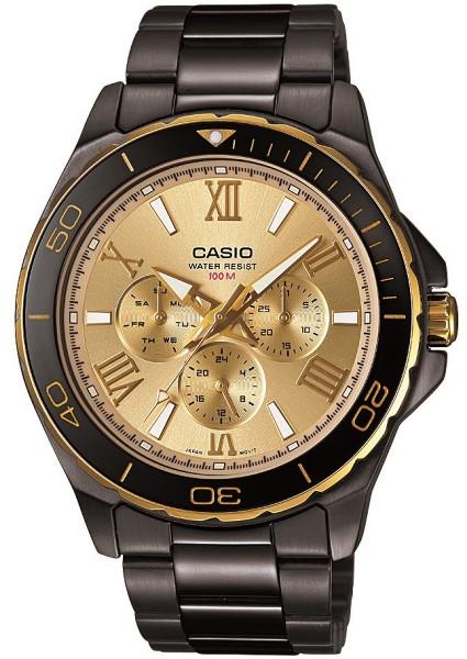 【ベルト調整無料】CASIO MTD-1075BK-9 逆輸入 カシオ メンズ ウォッチ 腕時計 時計 ゴールド ブラック 【送料無料】
