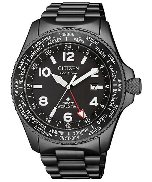 【ベルト調整無料】2019年最新 CITIZEN BJ7107-83E 逆輸入 シチズン エコドライブ GMT ワールドタイム メンズ 時計 ウォッチ ブラック