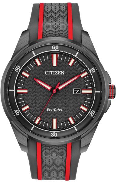 シチズン CITIZEN AW1607-03H 逆輸入 エコドライブ メンズ ウォッチ 時計 レッド ブラック ラバーベルト