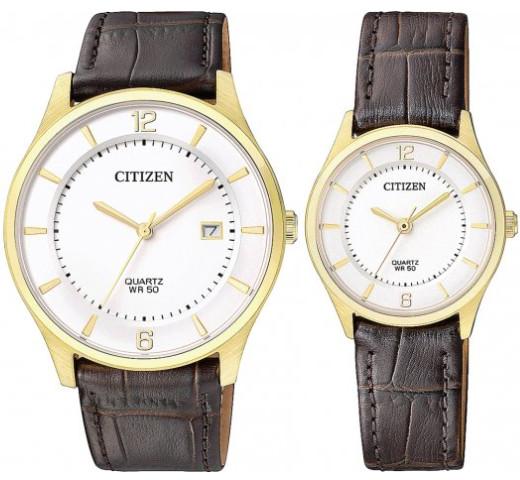 CITIZEN BD0043-08B-ER0203-00B シチズン 電池式 ペア ウォッチ 腕時計 時計 ゴールド レザーベルト 【送料無料】【代引手数料無料】