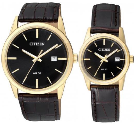 CITIZEN BI5002-06E-EU6002-01E シチズン 電池式 ペア ウォッチ 腕時計 時計 ゴールド ブラック レザーベルト 【送料無料】【代引手数料無料】