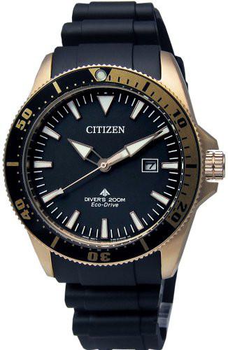 CITIZEN BN0104-09E シチズン 逆輸入 エコドライブ メンズ ダイバー ウォッチ 時計 ラバーベルト ブラック ゴールド 200m防水