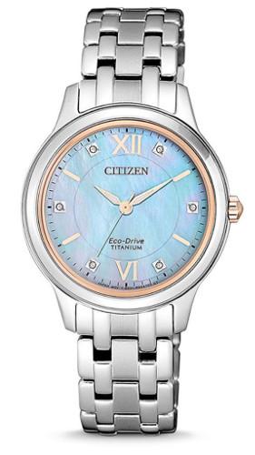 【ベルト調整無料】CITIZEN EM0726-89Y シチズン エコドライブ レディース チタン ウォッチ 腕時計 時計 シェル スワロフスキー