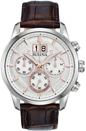日本未発売 BULOVA 96B309 ブローバ メンズ クロノグラフ ウォッチ 時計 ホワイト