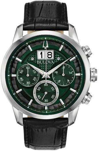 日本未発売 BULOVA 96B310 ブローバ メンズ クロノグラフ ウォッチ 時計 グリーン