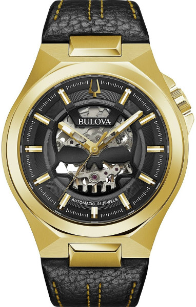 BULOVA 97A148 ブローバ 自動巻 オートマ スケルトン ウォッチ スカル ドクロ レザーベルト ゴールド 【送料無料】【代引手数料無料】