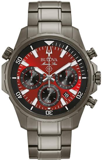 【ベルト調整無料】BULOVA 98B350 ブローバ マリンスター メンズ クロノグラフ ウォッチ 腕時計 レッド