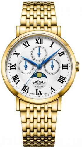 【送料無料】【代引手数料無料】【ベルト調整無料】ROTARY GB05328/01 ロータリー ウォッチ 腕時計 時計 ムーンフェイズ ゴールド 月 メンズ