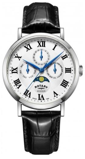 ROTARY GS05325/01 ロータリー ウォッチ 腕時計 時計 ムーンフェイズ レザーベルト 月 メンズ 【送料無料】【代引手数料無料】