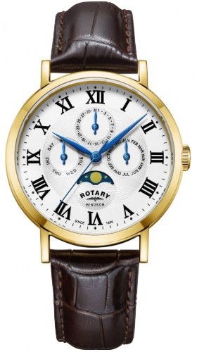 ROTARY GS05328/01 ロータリー ウォッチ 腕時計 時計 ムーンフェイズ レザーベルト 月 メンズ ゴールド【送料無料】【代引手数料無料】