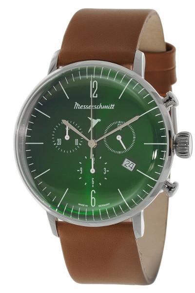 【送料無料】Messerschmitt ME-4H184 メッサーシュミット クロノグラフ ウォッチ 腕時計 レザーベルト メンズ グリーン ブラウン