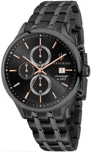 【ベルト調整無料】Maserati マセラティ R8873636003 クロノグラフ メンズ ウォッチ カーブランド ブラック【送料無料】【代引き手数料無料】
