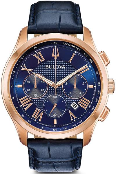 日本未発売 BULOVA 97B170 ブローバ メンズ クロノグラフ ウォッチ 時計 ローズゴールド ブルー レザーベルト