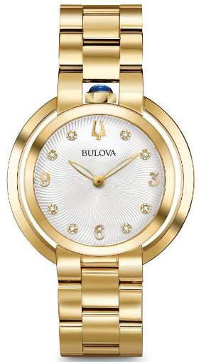 【ベルト調整無料】BULOVA 97P125 ブローバ レディース ウォッチ ダイヤモンド 8P 時計 ゴールドカラー