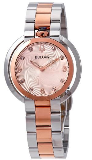 【ベルト調整無料】BULOVA 98P174 ブローバ レディース ウォッチ ダイヤモンド 8P 時計 コンビカラー