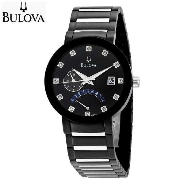 BULOVA ブローバ 12p ダイヤモンド メンズ ドレス ウォッチ ブラック 腕時計 98D109 【送料無料】【代引手数料無料】