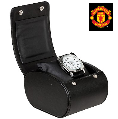 曼联罕见的欧洲足球俱乐部组曼联1000条限定型号表手表白脸黑色皮革皮带manchester united watch