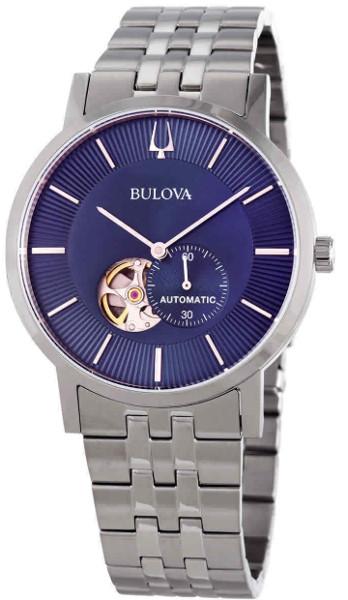BULOVA 96A247 ブローバ メカニカル 自動巻 オートマ ウォッチ 時計 レザーベルト セミスケルトン ブルー