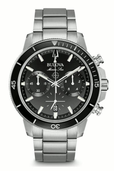 BULOVA 96B272 ブローバ マリンスター メンズ クロノグラフ ウォッチ 腕時計 ブラック 200m防水【送料無料】【ベルト調整無料】【smtb-KD】