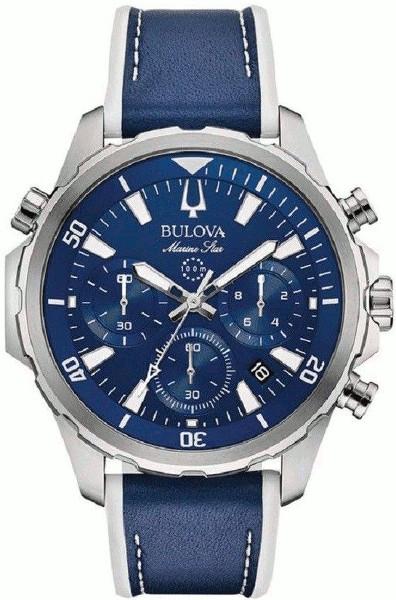 BULOVA 96B287 ブローバ マリンスター メンズ クロノグラフ ウォッチ 時計 ブルー レザーベルト