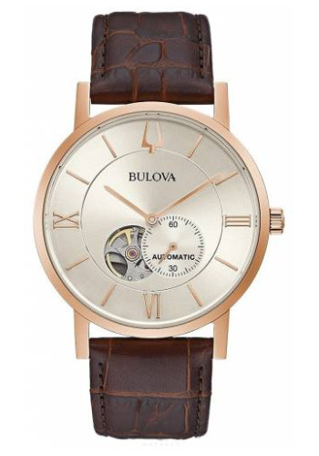 BULOVA 97A150 ブローバ メカニカル 自動巻 オートマ ウォッチ 時計 レザーベルト セミスケルトン