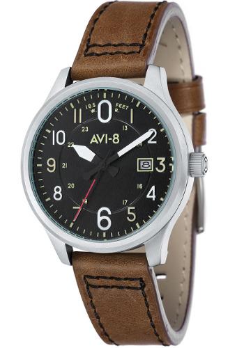 AVI-8 ホーカーハリケーン ミリタリー メンズ レザーウォッチ 腕時計 AV-4053-0B【送料無料】【代引手数料無料】
