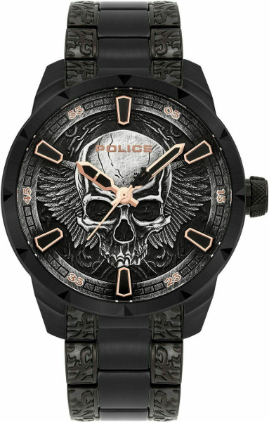 【ベルト調整無料】POLICE FW19 ポリス スカル メンズ ウォッチ 腕時計 ブレスレット セット 【送料無料】