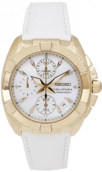 逆輸入 日本未発売 SEIKO SNDY22 セイコー レディース 11p ダイヤモンド クロノグラフ レザー ゴールドカラー ウオッチ 時計 腕時計 【送料無料】【代引手数料無料】