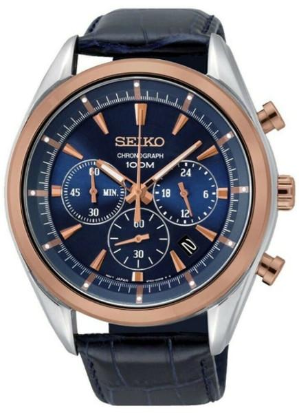 日本未発売 SEIKO SSB160 セイコー クロノグラフ メンズ ウォッチ 腕時計 ローズゴールド