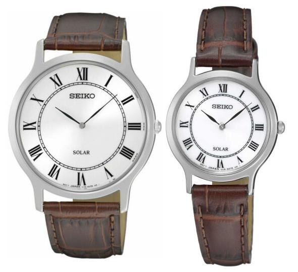 SEIKO セイコー ソーラー ペア ウォッチ 時計 腕時計 逆輸入 レザーベルト 薄型 【送料無料】