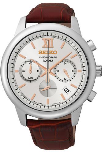 逆輸入 セイコー SEIKO SSB143 クロノグラフ メンズ ウォッチ 腕時計 レザーベルト