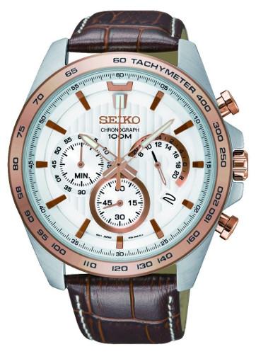日本未発売 セイコー クロノグラフ メンズ ウォッチ 腕時計 レザーベルト コンビカラー SEIKO SSB306