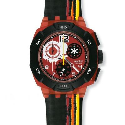 スウォッチ Swatch Reddish Black クロノグラフ メンズ ウォッチ 腕時計 SUKR100 【smtb-KD】
