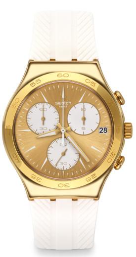 SWATCH IRONY CHRONO YCG415 スウォッチ クロノグラフ メンズウォッチ 腕時計 ゴールド ホワイト 【送料無料】【代引き手数料無料】