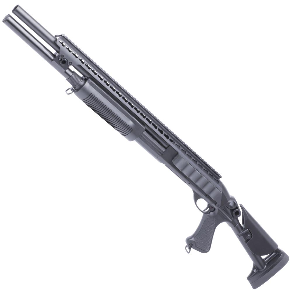 【ショットガンフェア対象商品】CM353DLMBK M870-L Keymod Tac. Rストック フルメタルショットガン BK【予備マグ&バイオ弾サービス!】