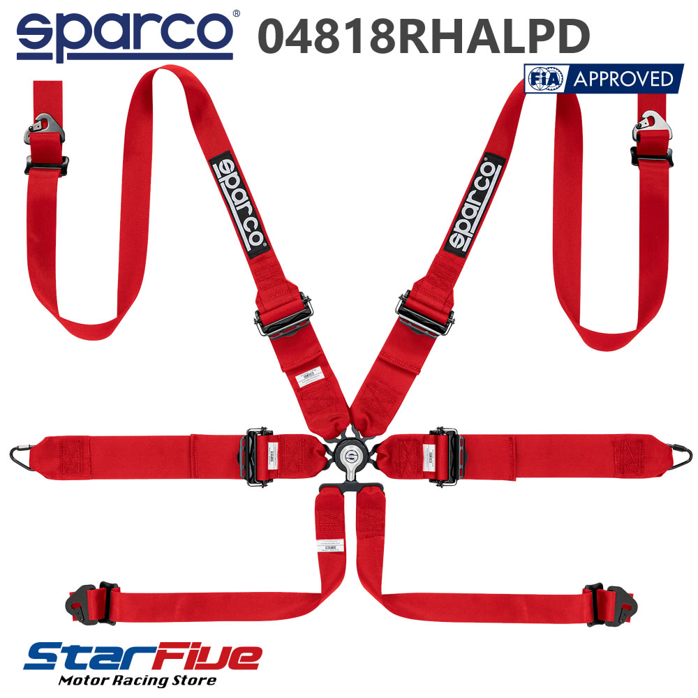 Sparco/スパルコ 6点式シートベルト 04818RHALPD ツーリングカー用 FIA8853-2016公認 2019年製造モデル