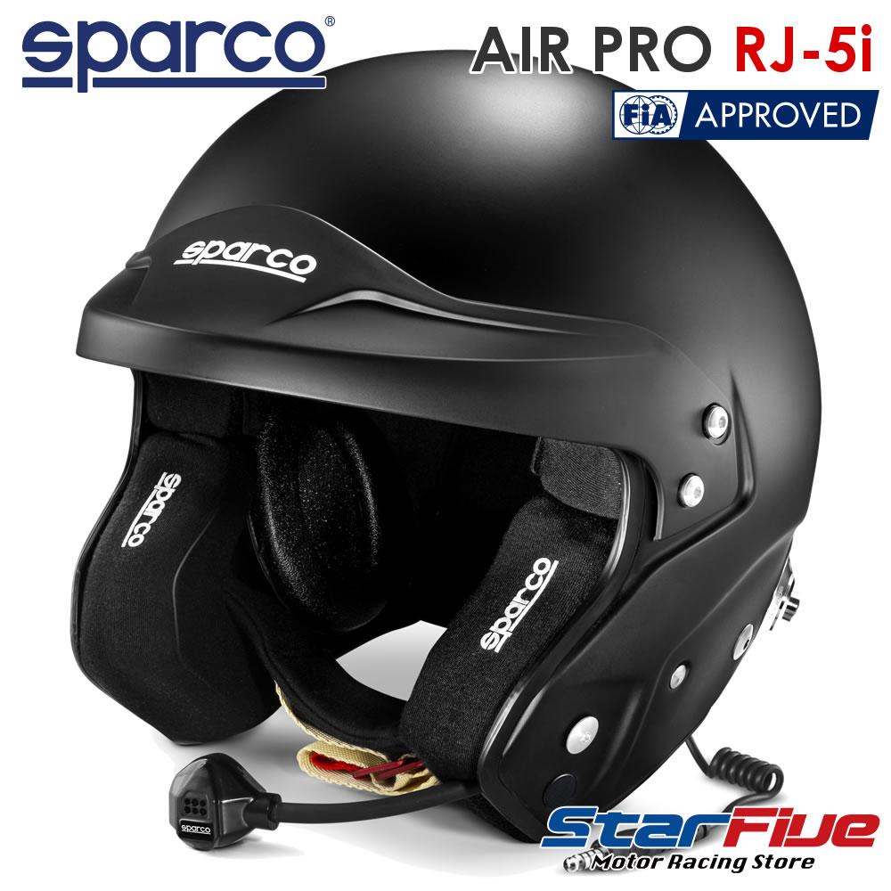 スパルコ ジェットヘルメット AIR PRO RJ-5i 四輪用 マットブラック インターコム付き FIA8859-2015公認 Sparco(2020年モデル)
