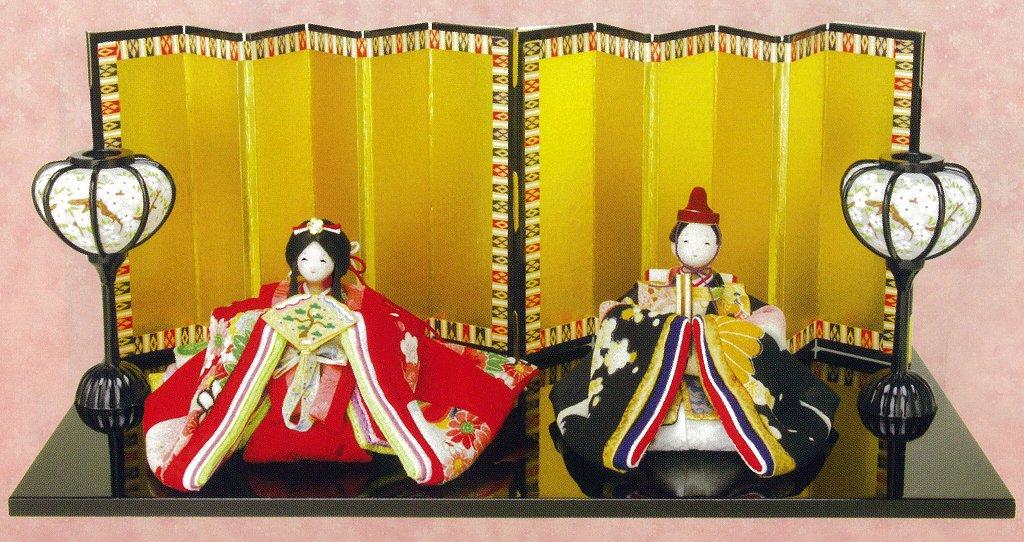 【雛人形 ひな人形】 ちりめん 親王飾り 「常盤雛」 1-461 【コンパクト飾り ちりめん雛 縮緬】【smtb-s】